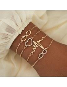 Bracelet Lot de 4 Infini Coeur Battement Doré
