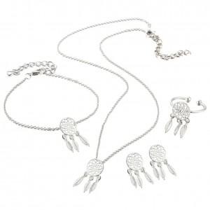 Ornamento Gioielli Collana Anello Ring, Afferra Il Sogno D'Argento Semplicemente