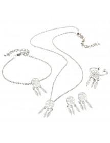 Schmuck Set Halskette Ohrringe Ring Fängt Traum Simply-Silber