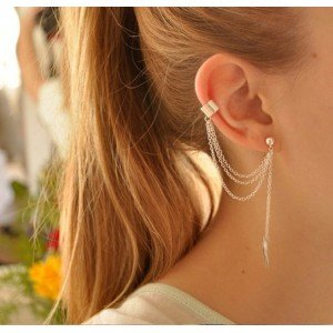 Earrings - Chain-Feather - Long-Chain - Silver -