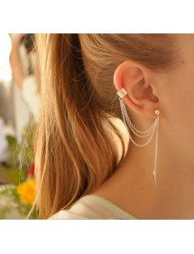 Ohrringe - Kette-Feder - Lange Kette - Silber