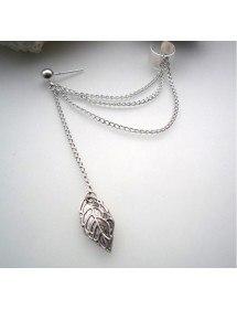 Örhängen - Kedja-Fjäder - Long-Chain - Silver-2