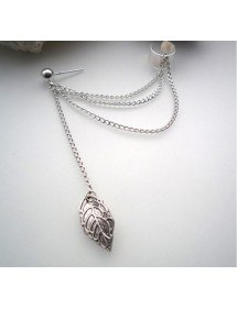Ohrringe - Kette-Feder - Lange Kette - Silber 2