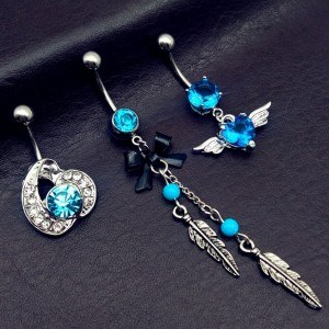 Piercings Nombril Lot de 3 Aile Ange Plumes Noeud Papillon Bleu