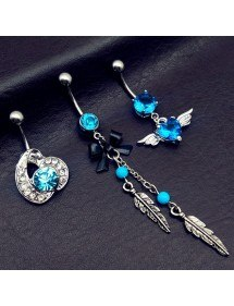Piercings Navel, Lot of 3 Wing Angel Feather bow tie Blue