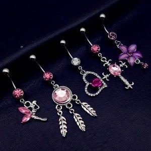 Piercings Bauchnabel 5er-Fee Kreuz Herz Fängt Traum in Rosa
