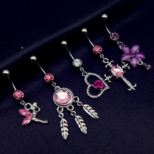 Piercings navel Lot van 5 Fairy Kruis Hart Catcher Droom Roze