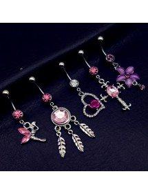 Piercings Nombril Lot de 5 Fée Croix Coeur Attrape Rêve Rose