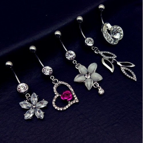Piercings Nombril Lot de 5 Fleur Coeur Feuilles Blanc