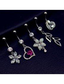 Piercings Bauchnabel 5er-Blume-Herz-Blatt-Weiß