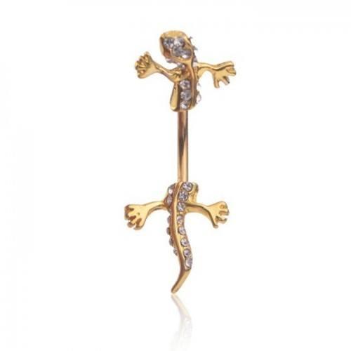 Piercing Ombelico Salamandra Lucertola Geco V3 Oro Bianco