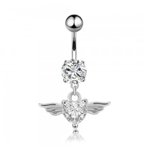 Piercing Navel Angel Wings Heart V3 Surgical Steel White