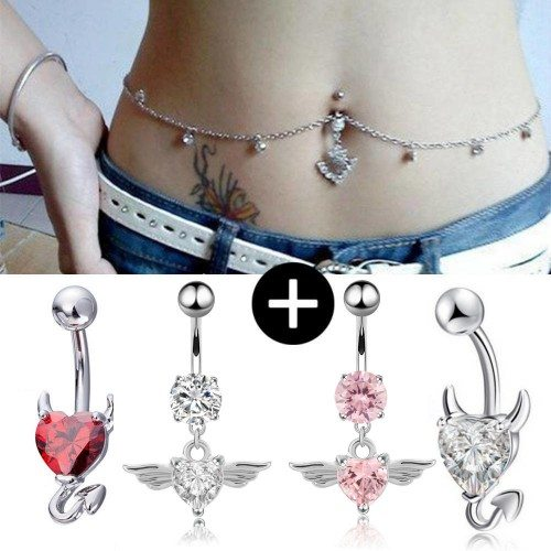 Pack Of 5 Body Piercing Navel Angel And Devil Silver White Red Pink