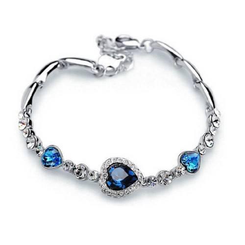 Pulseira de prata e azul premium Heart Of The Ocean Titanic