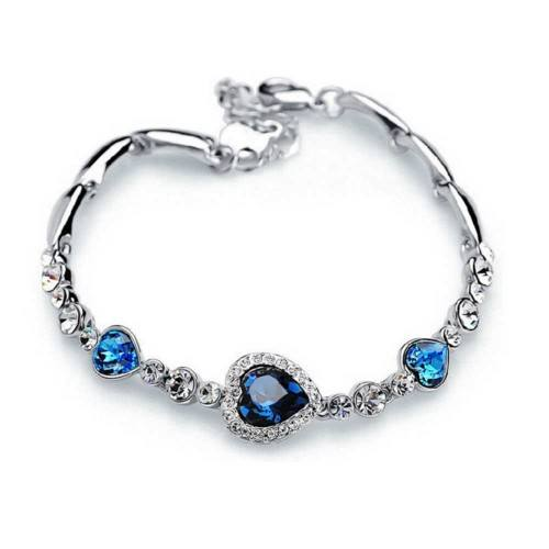 Pulsera Heart Of The Ocean Titanic Premium de plata y azul