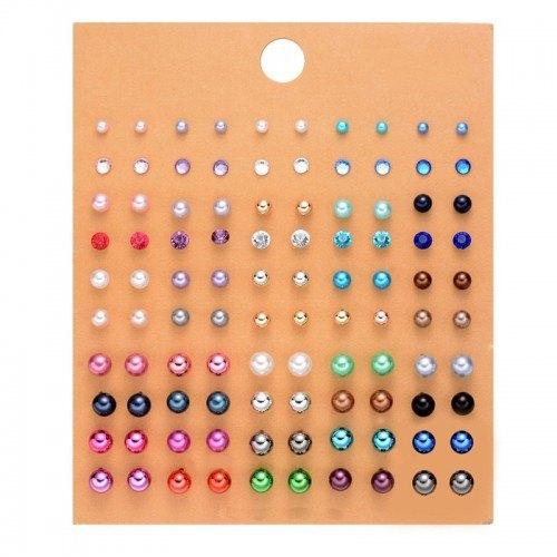 Boucles D'oreilles Femme Lot de 50 paires Multicolore