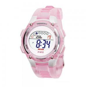 Relógio digital à prova d'água infantil infantil rosa