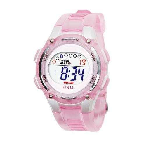 Vaikų mergaitės skaitmeninis neperšlampamas laikrodis rožinis