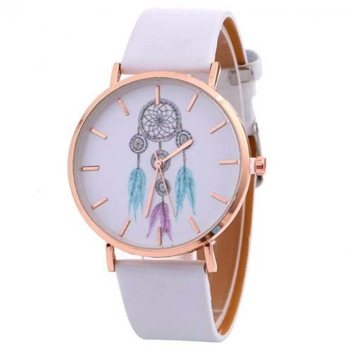 Montre Femme Attrape Rêve White Dream V3  Simili Cuir Blanc