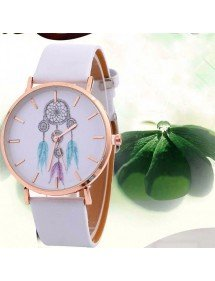 Montre Femme Attrape Rêve White Dream V3  Simili Cuir Blanc 2