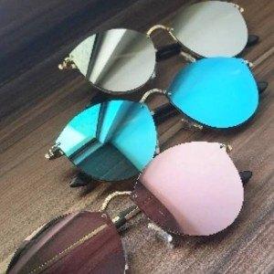 Lote 3 de Gafas de Sol Mujer CateEye Espejos de Ojo de Gato Gris Azul Rosa