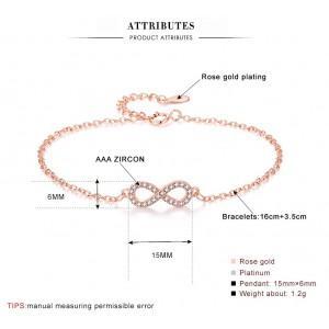 Bracelet Women Infinity Premium V4 Golden Pink Gold Dimensions