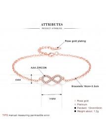 Armband Kvinnor Infinity Premium V4 Gyllene Rosa Guld Mått