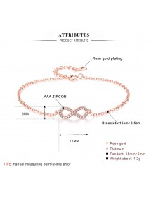 Bracelet Women Infinity Premium V4 Silver Dimensions