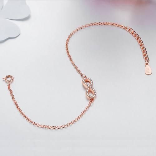 Pulsera De Las Mujeres De Infinity Premium V4 Dorado En Oro Rosa