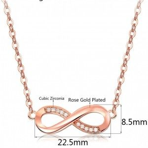 Necklace Woman Infinity Premium V4 Golden Pink Gold Dimensions