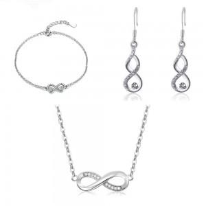 Parure Femme Collier Bracelet Boucles D'Oreilles Infini Premium V4 Argenté