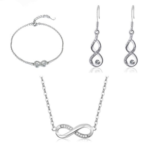 Choker Woman Necklace Bracelet Earrings Infinity Premium V4 Silver