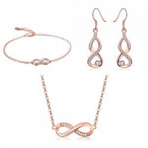 Adorno De Joyería De Las Mujeres Collar De La Pulsera De Los Bucles De Infinity Premium V4 Dorado En Oro Rosa