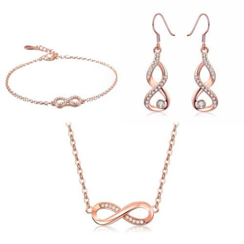 Adornment Jewelry Women Necklace Bracelet Loops Infinity Premium V4 Gilded Rose Gold
