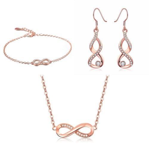 Ornamento Gioielli Donna Collana Bracciale Loop Infinito Premium V4 Dorato In Oro Rosa