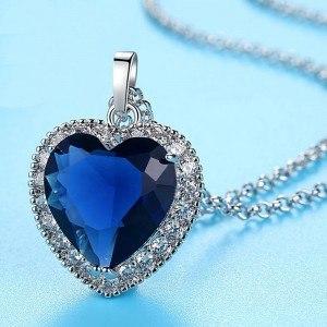 Colar Feminino Coração do Oceano Titanic Premium Prata Azul