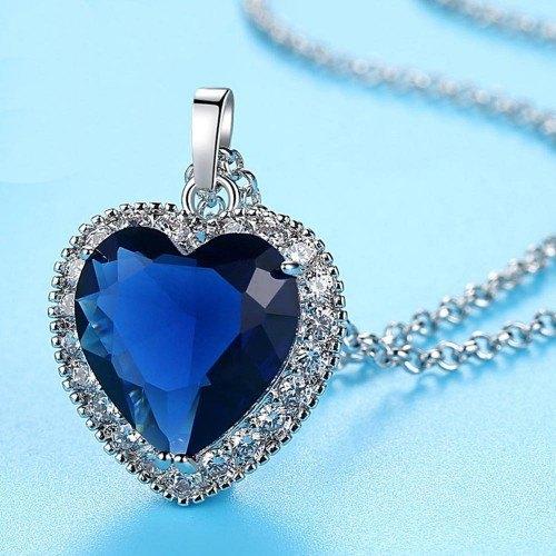 Halskette Frau Herz Der Ozean Titanic Premium Silber Blau