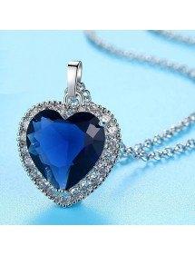 Ladies Necklace Heart of the Ocean Titanic Premium Silver Blue