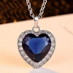 Damen Halskette Heart of the Ocean Titanic Premium Silber Blau