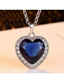Necklace Women Heart of The Ocean Titanic Premium Silver Blue