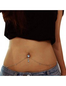 Piercing Navel String Sexy Size V2 Surgical Steel Silver White
