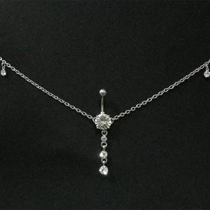 Piercing Ombelico Stringa Sexy Dimensione V2 In Acciaio Chirurgico Argento Bianco