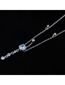Piercing Bauchnabel Sexy String Größe V2 Chirurgenstahl Silber Weiß