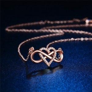 Collar De Mujer Infinito Y En El Corazón De La Prima De Oro Rosa De Oro