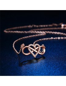 Necklace Woman Infinity And Heart Premium Golden Rose Gold