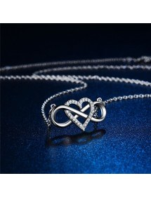 Necklace Woman Infinity And Heart Premium Silver