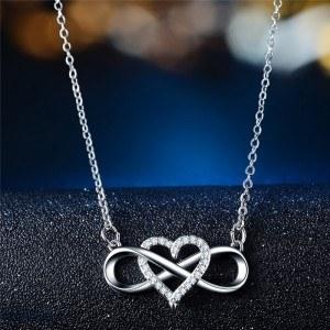Collar De Mujer Infinito Y Corazón De Plata Premium