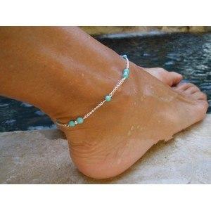 La cadena de tobillo de plata-tono azul perlas