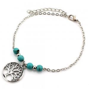 Chaine de cheville arbre de vie bohème argenté bleu