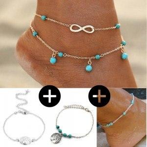 Pack Chaines de Cheville Infini Perles Arbre De Vie Argenté Bleu Design Bohème